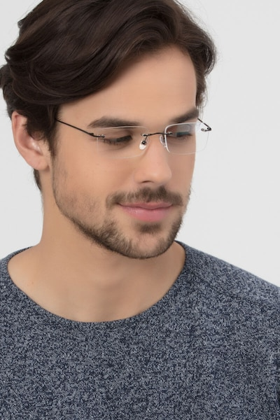 Woodrow Black Metal Eyeglass Frames for Men from EyeBuyDirect, Front View