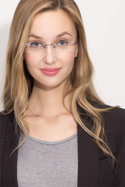 South  Gunmetal  Metal Eyeglass Frames for Women from EyeBuyDirect, Front View