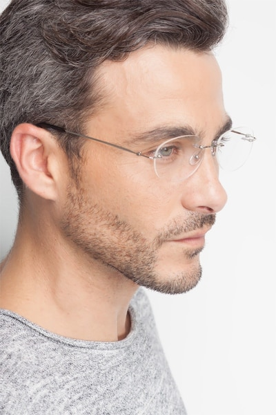 Market Silver Metal Eyeglass Frames for Men from EyeBuyDirect, Front View