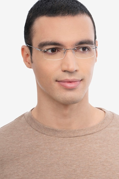 Dimension Gunmetal Titanium Eyeglass Frames for Men from EyeBuyDirect, Front View