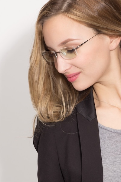 Dimension Gunmetal Titanium Eyeglass Frames for Women from EyeBuyDirect, Front View