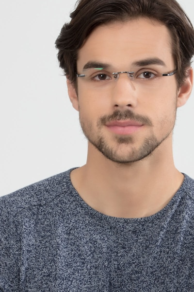 Whistle Gunmetal Metal Eyeglass Frames for Men from EyeBuyDirect