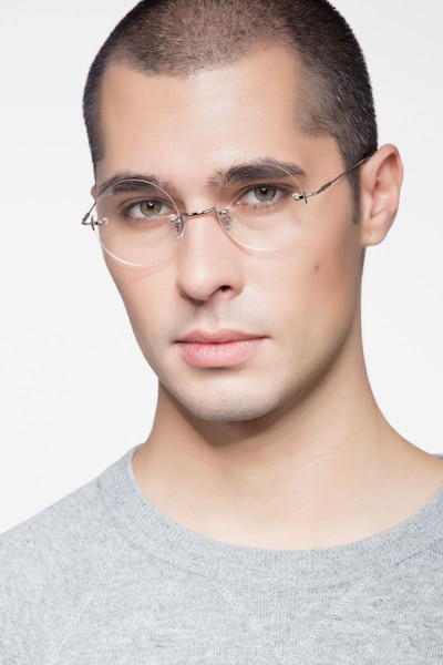 Palo Alto Silver Metal Eyeglass Frames for Men from EyeBuyDirect, Front View