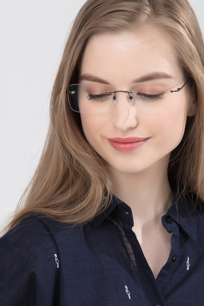 Woodrow Black Metal Eyeglass Frames for Women from EyeBuyDirect, Front View