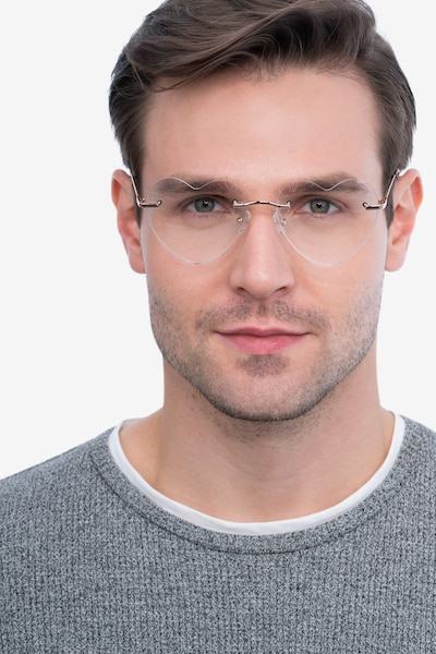 Amore Rose Gold Metal Eyeglass Frames for Men from EyeBuyDirect, Front View