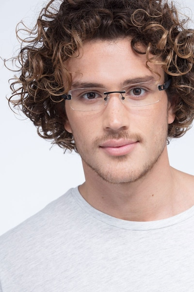 Flow Black Acetate Eyeglass Frames for Men from EyeBuyDirect, Front View