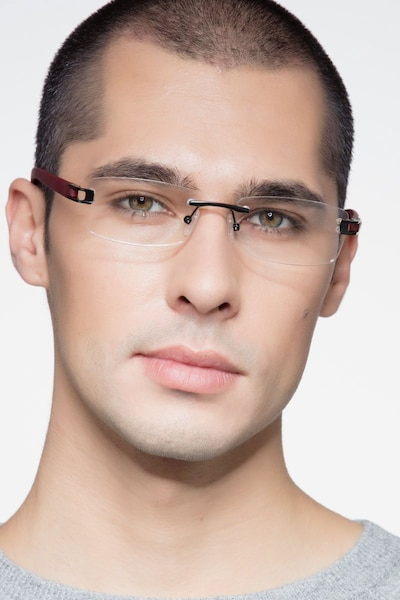 Flow Black Burgundy Acetate Eyeglass Frames for Men from EyeBuyDirect, Front View