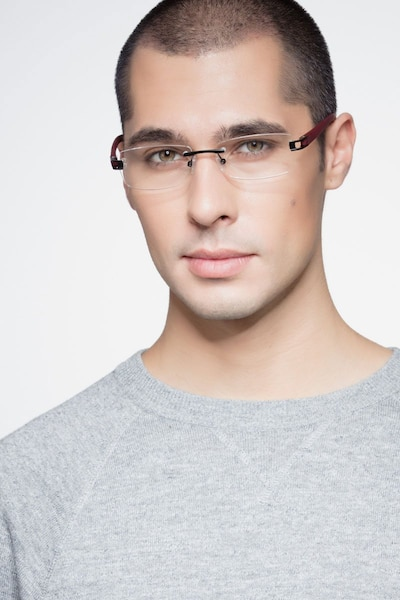 Flow Black Burgundy Acetate Eyeglass Frames for Men from EyeBuyDirect