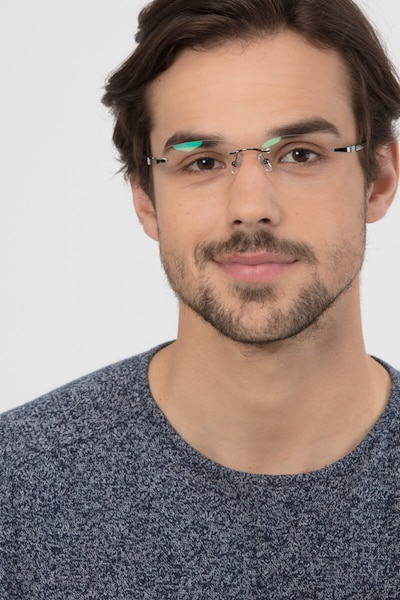 Limitless Gunmetal Metal Eyeglass Frames for Men from EyeBuyDirect, Front View