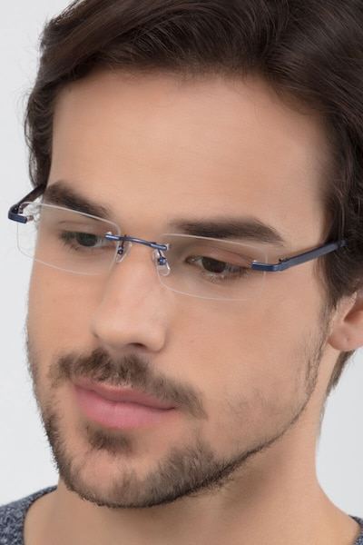 Montecelio Navy Metal Eyeglass Frames for Men from EyeBuyDirect