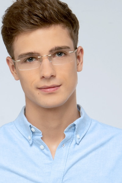 Collector Silver Metal Eyeglass Frames for Men from EyeBuyDirect, Front View
