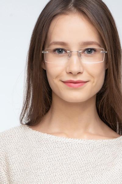 Collector Argent Métal Montures de Lunettes pour Femmes d'EyeBuyDirect, Vue de Face