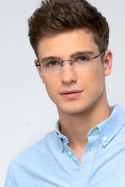 Collector Black Metal Eyeglass Frames for Men from EyeBuyDirect, Front View