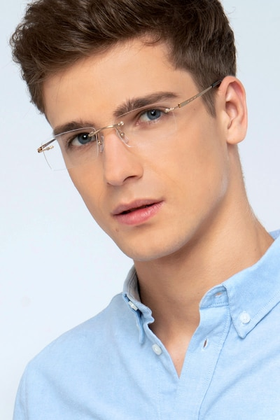Percy Light Golden Metal Eyeglass Frames for Men from EyeBuyDirect, Front View