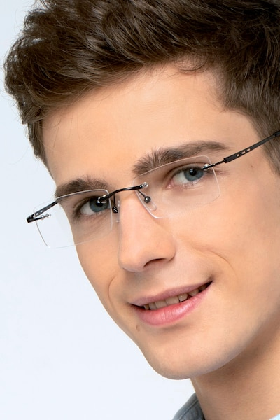 Percy Gunmetal Metal Eyeglass Frames for Men from EyeBuyDirect