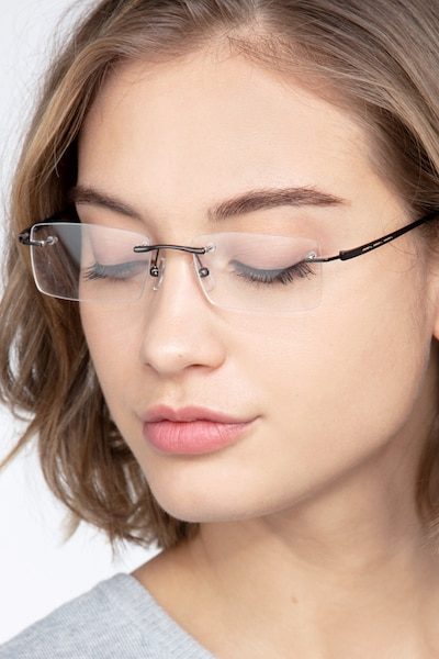 Percy Gunmetal Metal Eyeglass Frames for Women from EyeBuyDirect