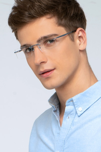 Primo Blue Metal Eyeglass Frames for Men from EyeBuyDirect, Front View