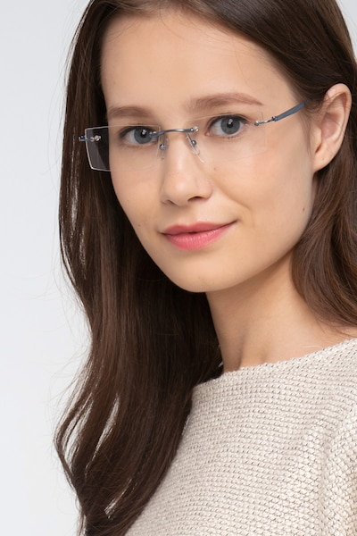 Primo Blue Metal Eyeglass Frames for Women from EyeBuyDirect, Front View