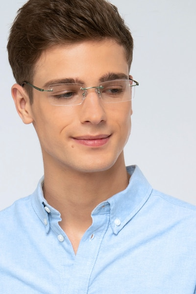 Primo Silver Metal Eyeglass Frames for Men from EyeBuyDirect, Front View