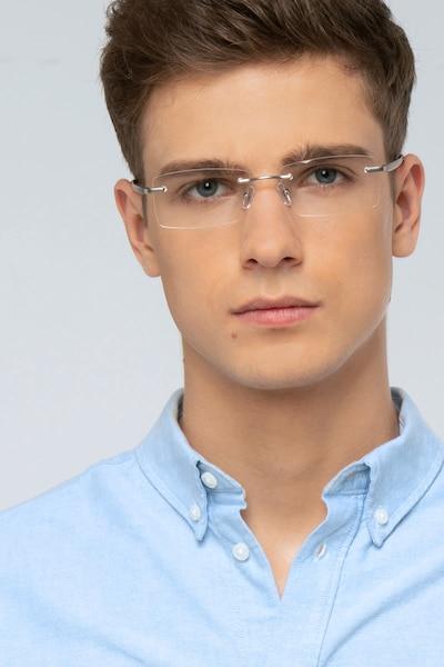 Noble Argenté Métal Montures de Lunettes pour Hommes d'EyeBuyDirect, Vue de Face