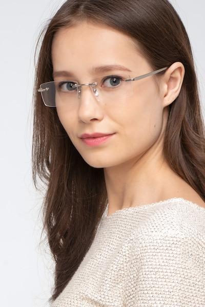 Noble Argenté Métal Montures de Lunettes pour Femmes d'EyeBuyDirect, Vue de Face