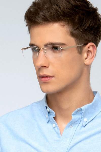 Noble Golden Metal Eyeglass Frames for Men from EyeBuyDirect