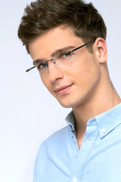 Noble Gunmetal Metal Eyeglass Frames for Men from EyeBuyDirect, Front View