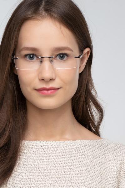 Noble Gunmetal Métal Montures de Lunettes pour Femmes d'EyeBuyDirect, Vue de Face