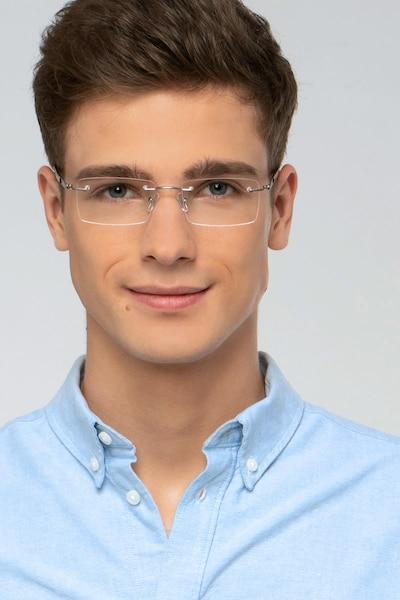 Orion Light Gunmetal Metal Eyeglass Frames for Men from EyeBuyDirect, Front View
