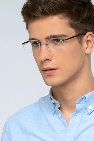 Orion Dark Gunmetal Metal Eyeglass Frames for Men from EyeBuyDirect