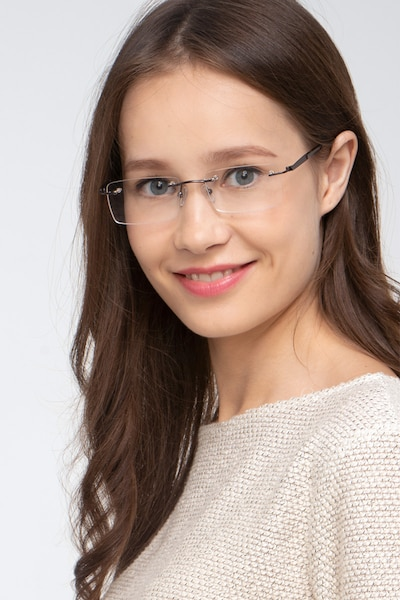 Orion Dark Gunmetal Metal Eyeglass Frames for Women from EyeBuyDirect, Front View