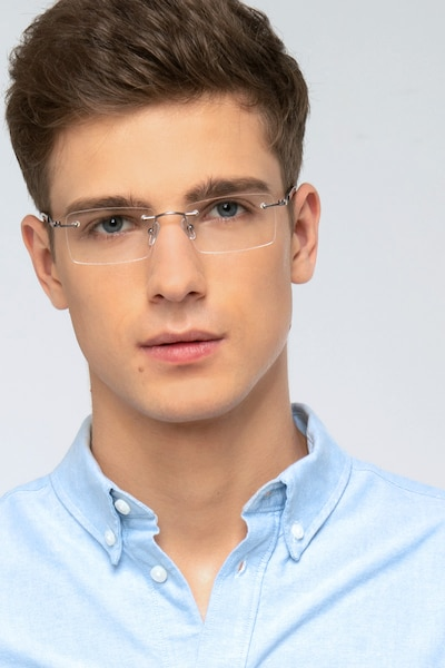 Orion Silver Metal Eyeglass Frames for Men from EyeBuyDirect, Front View