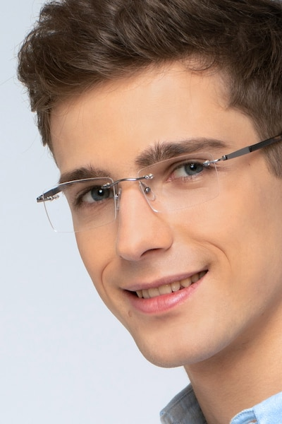 Orion Silver Metal Eyeglass Frames for Men from EyeBuyDirect