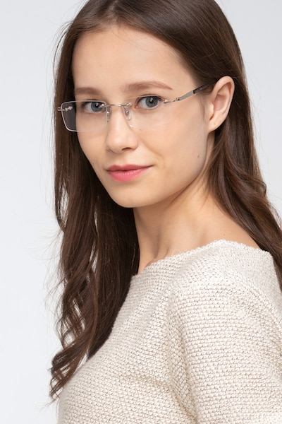Orion Silver Metal Eyeglass Frames for Women from EyeBuyDirect, Front View