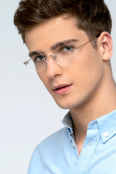 Palo Alto Golden Metal Eyeglass Frames for Men from EyeBuyDirect, Front View