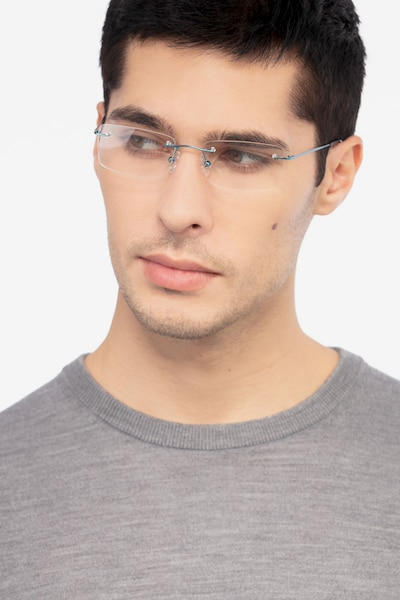 Woodrow Blue Metal Eyeglass Frames for Men from EyeBuyDirect, Front View
