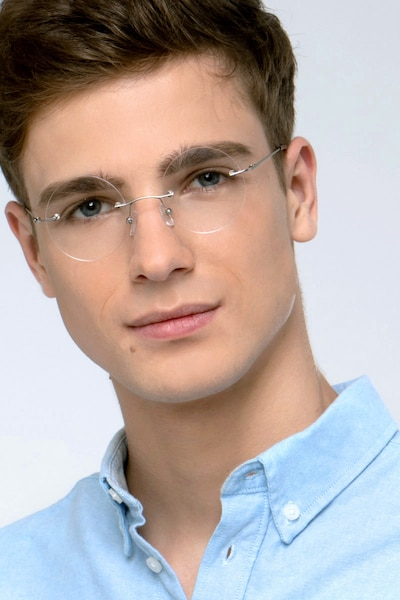 Altus Silver Metal Eyeglass Frames for Men from EyeBuyDirect, Front View