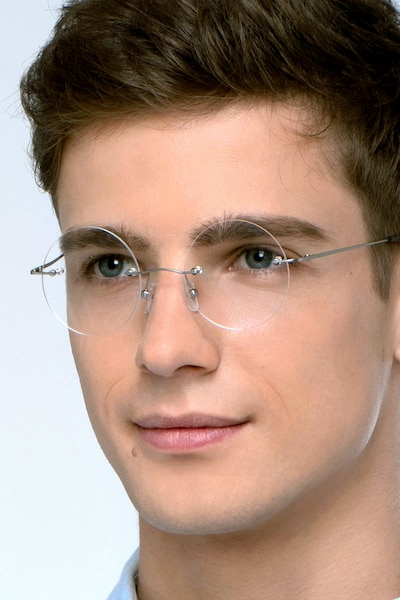 Altus Silver Metal Eyeglass Frames for Men from EyeBuyDirect