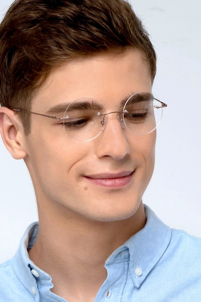 Altus Rose Gold Metal Eyeglass Frames for Men from EyeBuyDirect, Front View