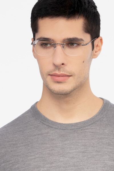 Vince Gunmetal Metal Eyeglass Frames for Men from EyeBuyDirect, Front View