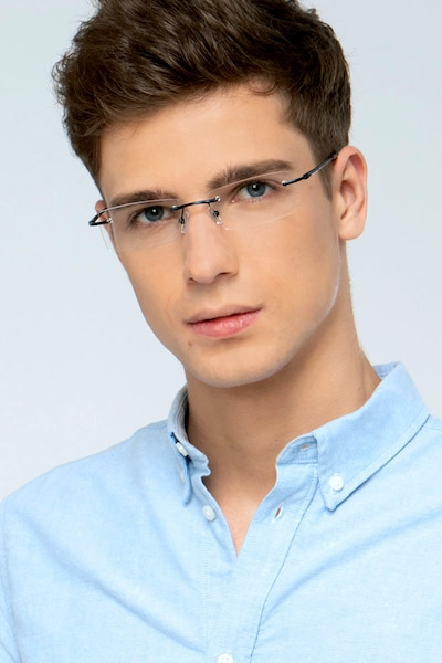 Regis Blue Metal Eyeglass Frames for Men from EyeBuyDirect, Front View