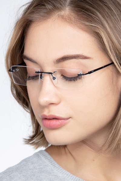 Regis Blue Metal Eyeglass Frames for Women from EyeBuyDirect