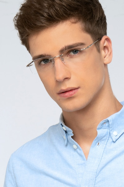 Regis Silver Metal Eyeglass Frames for Men from EyeBuyDirect, Front View