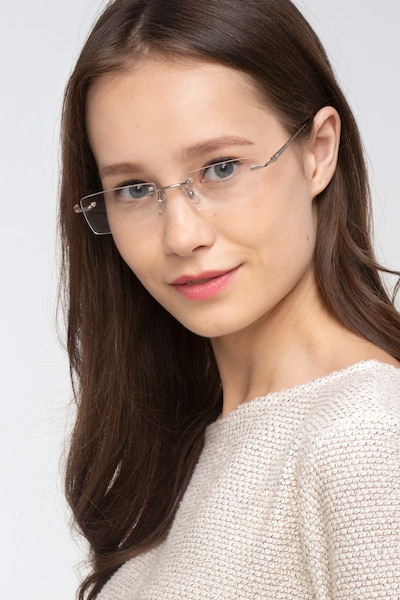 Regis Silver Metal Eyeglass Frames for Women from EyeBuyDirect, Front View