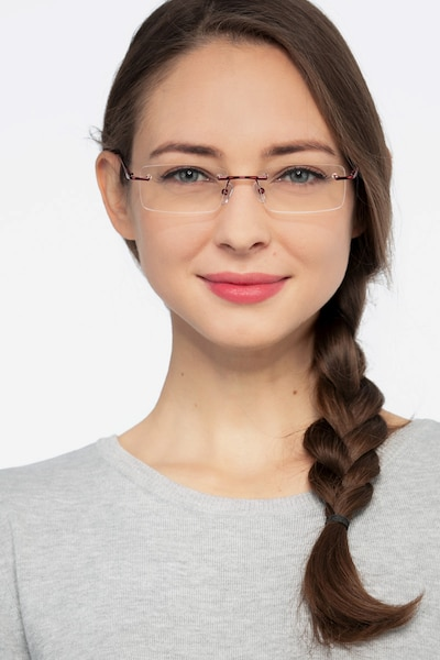 Earl Burgundy Metal Eyeglass Frames for Women from EyeBuyDirect, Front View