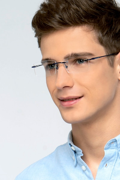 Earl Navy Metal Eyeglass Frames for Men from EyeBuyDirect, Front View