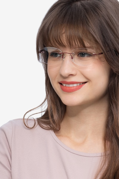 Athena Red Metal Eyeglass Frames for Women from EyeBuyDirect, Front View