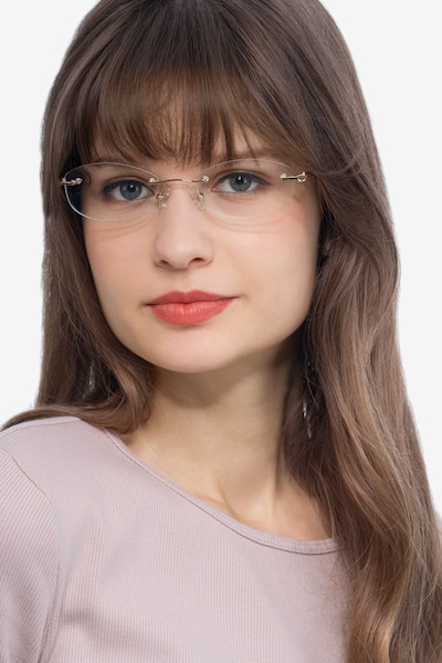 Create Gold Metal Eyeglass Frames for Women from EyeBuyDirect, Front View
