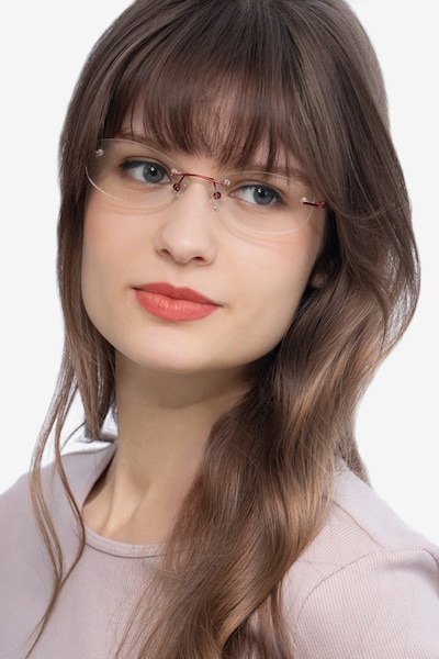 Create Burgundy Metal Eyeglass Frames for Women from EyeBuyDirect, Front View