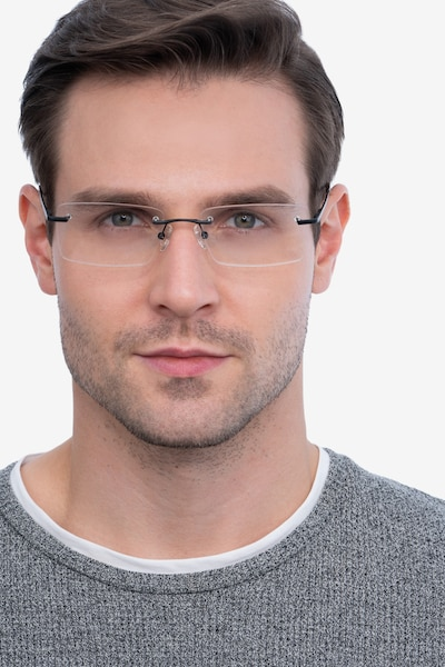 Enterprise Black Metal Eyeglass Frames for Men from EyeBuyDirect, Front View